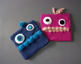 "Pillow ""Eats pajamas"" Monster! Crochet child storage Pajama bag"