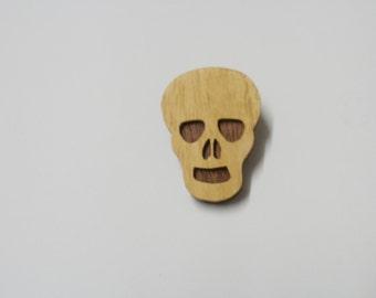 wooden skull  brooch scroll saw