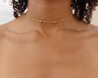 Dainty Gold Choker / Gold Bead Choker / Choker Necklace / 14k plated Dainty Choker / Dew Drop Choker / Gift Idea / Satellite Chain Choker