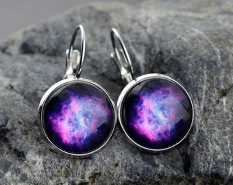 Galaxy earrings, Nebula earrings, stainless steel earrings, space earrings, ed06