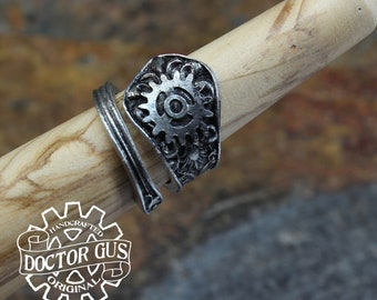 Ornate Gear Ring - Adjustable - Wrap Style - Handcrafted by Doctor Gus - Beautiful Antique Inspired Ring - Steampunk Style Ring