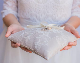 Champagne French Chantilly Lace Ring Pillow -  Handmade in the USA, Ring Bearer Pillow, Ring Pillow, Ring Boy