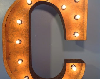 "24"" Vintage Marquee Light Letter C (rustic) 24"" Free Shipping"