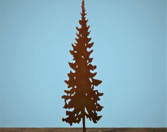 Spruce Tree Pop Up Pedestal -large-   Pacific Northwest Art   Metal Evergreen Tree   Spruce Tree Art   Puget Sound Art   Mantle Art  POP253L