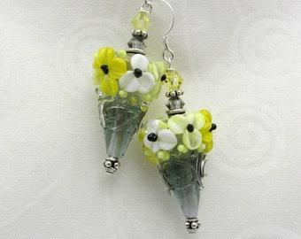 Lampwork Earrings Gray and Yellow Flower Lampwork Cone Earrings Glass Bead Earrings Dangle Drop Earrings SRAJD USA Handmade