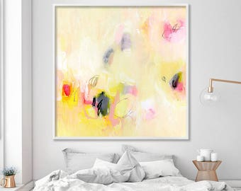 "Giclee print Large wall art Canvas art of abstract painting in yellow ""A Tea In The Desert"""