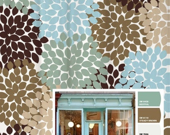 Shower Curtain Blue Brown Storefront Inspired Floral Standard And Long Lengths 70 74 78