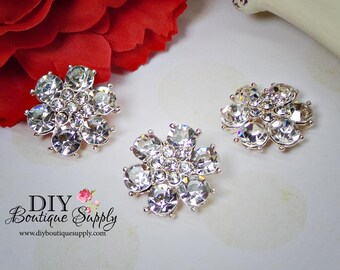 Super bright Sparkly Crystal Buttons Flatback Rhinestone buttons Embellishment for Baby Headbands flower centers Hair Bow Centers 25mm N149