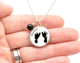Baby Footprints Necklace | Mother's Day | Gifts For Her | Baby's ACTUAL Footprints | Gifts for Mom | Infant Loss Miscarriage Keepsake