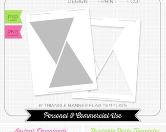 6 inch Triangle Bunting Flag Banner Template - INSTANT DOWNLOAD - PRINTABLE - Make your own party printables
