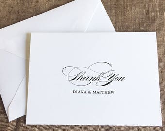 Wedding Thank You Notes, Folded Notes Cards, Personalized Stationery Stationary, Note Cards, Formal, Wedding Stationary, set of 10
