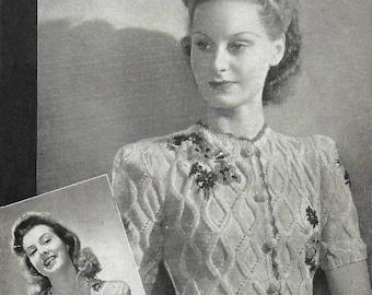 1940s Weldons 288 Vintage Knitting Pattern Women's Tyrolean Cardigan Rare Flowers PDF WWII WW2 Wartime