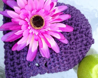 Handmade sophisticated purple Vintage inspired crochet beanie that  fits newborn to 18 month. Photo prop, Baby girl shower gift.