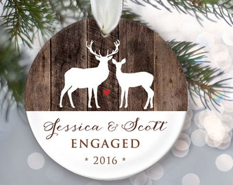 """Engaged Ornament Personalized Christmas Ornament Engagement Ornament Faux Rustic """"wood"""" Engagement Gift Buck & Doe Hunter Gift OR495"""