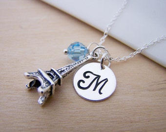 Eiffel Tower Paris 3D Charm Swarovski Birthstone Initial Personalized Sterling Silver Necklace / Gift for Her