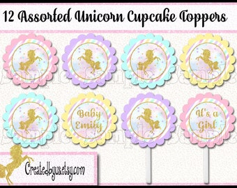 Unicorn Cupcake Toppers  Gold Glitter Unicorn baby shower Decorations Custom baby shower favors cupcake picks cake toppers 12 assembled