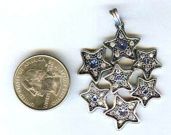"Gorgeous Stars Pendant with Aqua & Clear Rhinestones 2 1/4"""