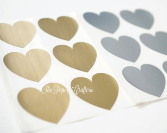 Gold or Silver Metallic Heart Stickers Envelope Seals - Pack of 48