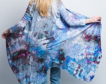 Hand-dyed cardigan - Blue, purple and Grey cardigan - Blue boho jacket -Tie dyed boho jacket - Bohemian jacket-colorful cardigan,blue duster