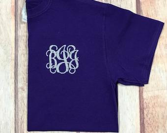 Monogram t-shirt, monogrammed shirt, monogrammed gift, glitter