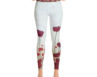 Pretty as a Poppy Yoga Leggings by Artfully Cassi
