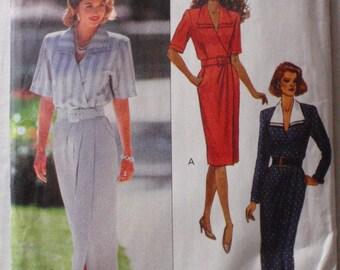 Leslie Fay Mock Wrap Dress Sewing Pattern - Butterick  6831 - Sizes 12-14-16, Bust 34 - 38, Uncut
