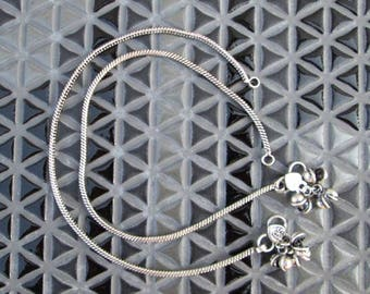 Chain Anklet, Indian Bell Payal,Traditional Anklet,Bollywood Indian Wedding Payal,Oxidized Silver Anklet,Festival Gift Jewelry,Pair Anklet-1