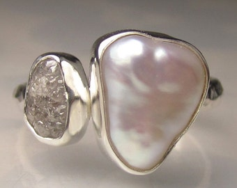 Baroque Pearl and Rough Diamond Ring - Recycled Palladium Sterling Engagement Ring - Made to Order