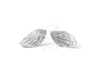 ERG-567-MR/2PCS/Comb Textured Post Earring/10mm X 20mm/Matte Rhodium Plated over Brass,silver Post