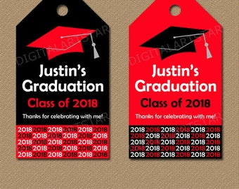 Personalized Graduation Tags, Printable Tags, Senior Graduation Gift Tags, Class of 2018 Tags, Red Black Graduation Party Favor Tags G1
