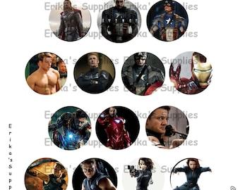 Avengers Thor Captain America Hulk Black Widow Hawkeye Iron Man 1 inch Bottle Caps Digital Download  5.8 x 7.5