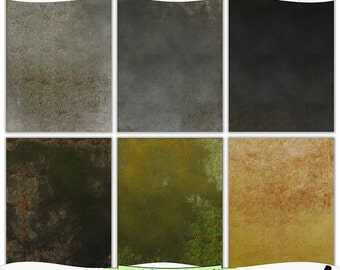 Grungy Gray Black Green Gold Metal Hues Printable Digital Prints Instant Download Set of 6 - 8.5 x 11 inch JPEG & PDF Commercial Use 1489