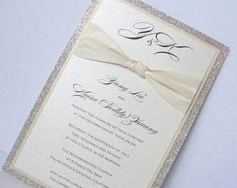 Wedding Invitation, Glitter Wedding Invitation, Elegant Wedding Invitation, Rustic Wedding Invitation, Vintage Wedding Invitation, ZAZA GOLD