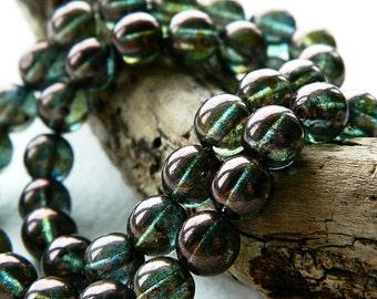CLEARANCE...30% OFF...8mm Czech Glass Druk Beads, Glass Round Beads, Transparent Glass & Bronze Green/Blue Luster (50pcs) 1.1.4