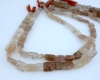 Copper Rutilated Crystal Quartz Bead-  Copper Rutilated Faceted Chicklet Beads- 1 STRAND (BB-70)