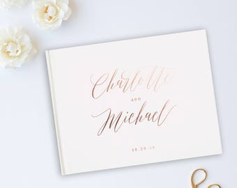Pink Wedding Guest Book, Pink Wedding Album, Wedding Guest Books, Gold Foil, Personalized Names Hardcover, Custom Guestbooks Personalized