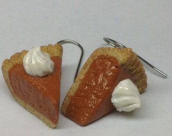 Pumpkin Pie Earrings, Polymer Clay Jewelry, Made to order