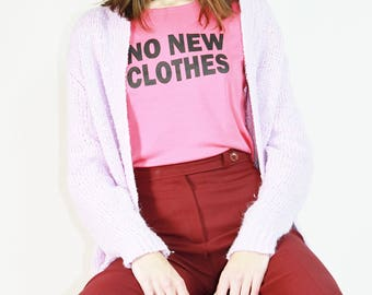 Pink No New Clothes Logo Shirt / Repurposed Zero Waste Clothing / S Small