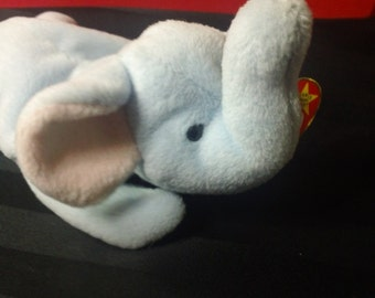 Peanut ~ Ty Beanie Babies Plush Light Blue Elelphant ~ Vintage Collectible Beanbag Stuffed Animal Toy