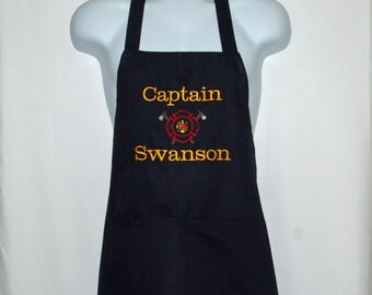 Firefighters Apron, Firemen Captain Apron,  Fireman, Are Hot Apron, Personalize With Name, No Shiping Fee, Ready To Ship TODAY, AGFT 780