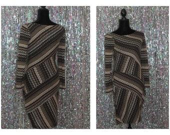 Evan Picon Multi Color Stripe Asymmetric Dress (4) *Excellent Condition