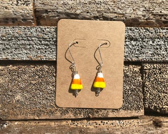 Glass Candy Corn Earrings
