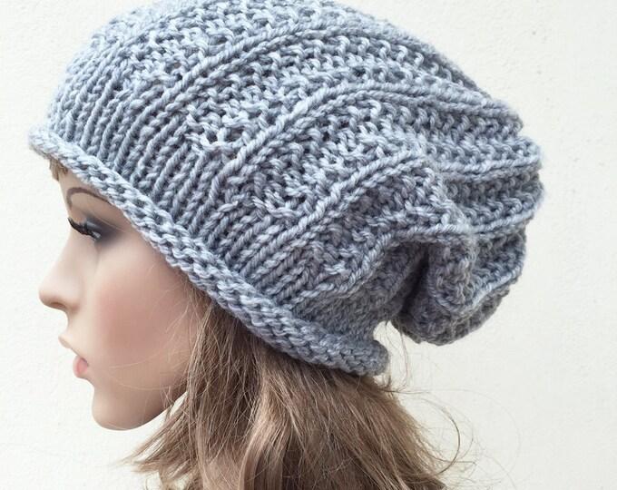 Hand knit woman men unisex hat - Oversized Chunky Wool Hat, slouchy grey hat