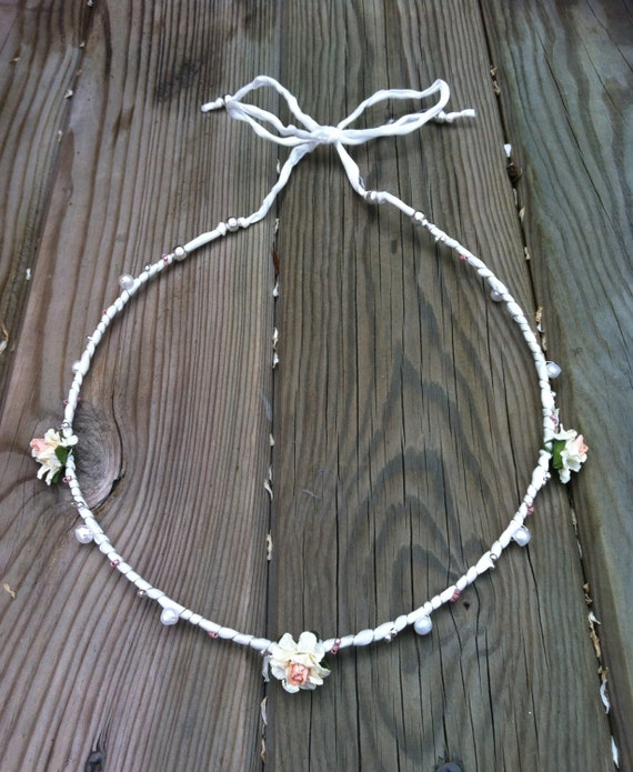 PEARLS and ivory and pink FLOWERS silk HEADBAND