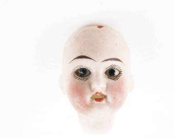 "Vintage Bisque Porcelain Doll's Head - Glass Eyes and Teeth - 'Floradora' - 1900s Doll Collector - Victorian Doll Head - 1 1/2"" Head"