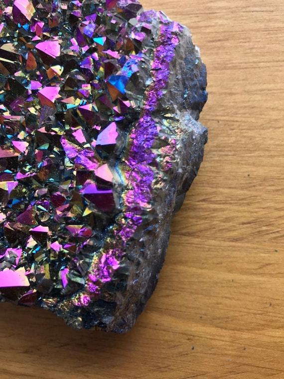 Titanium Aura Quartz Amethyst Cluster 670g, Rainbow Titanium Aura Quartz Slab, Aura Amethyst Cluster, Amethyst Cluster, Rainbow Aura Point