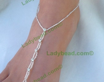 Barefoot Sandals Rhinestone Bling Ladybead Barefoot Designs Foot Jewelry TLR1