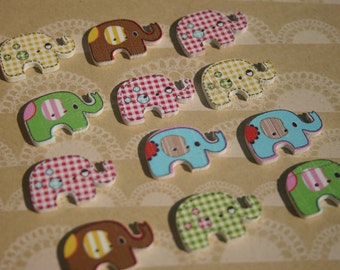 "Wood Elephant Buttons - Wooden Painted Button - Pastel Colors - Bulk Buttons - 1 1/8"" Wide"