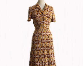 Vintage 60s geometric print dress/ brown orange abstract dress/ earthy tone floral dress