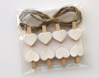 Hearts clothespins, mini clothespins, decorated clothespin, wooden mini pegs, mini heart pegs, hearts pins, decorated pins, wooden pins